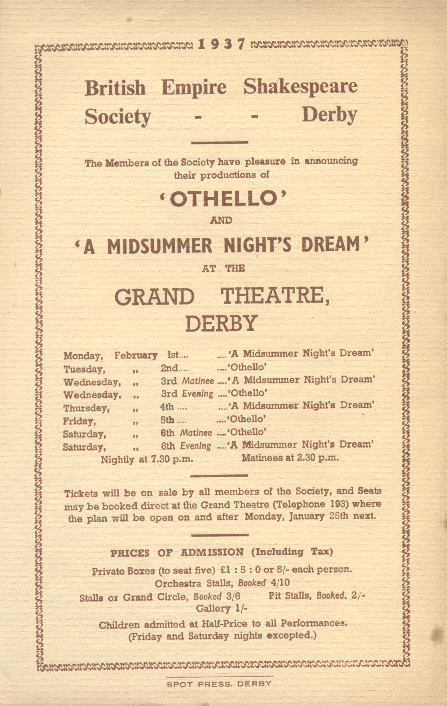 'Othello' & A Midsummer Night's Dream' 1937