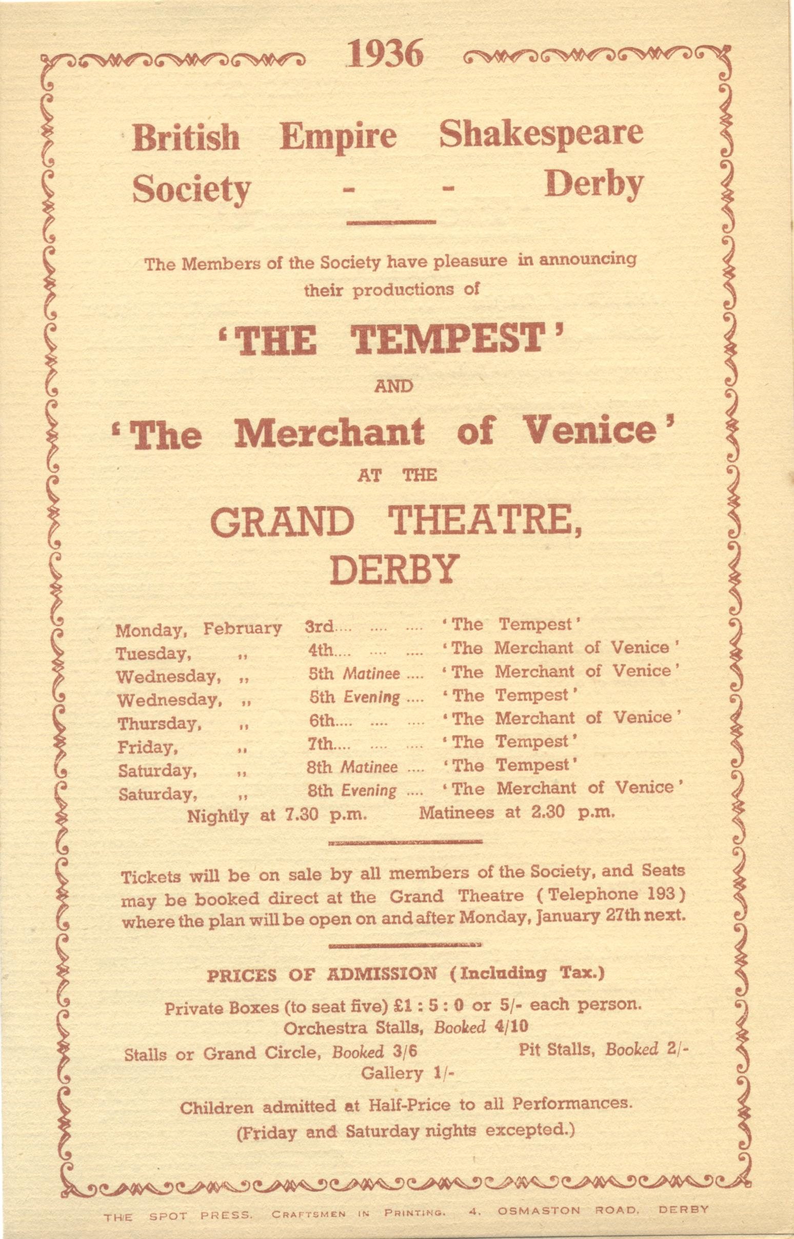 'The Tempest' & 'The Merchant Of Venice' 1936