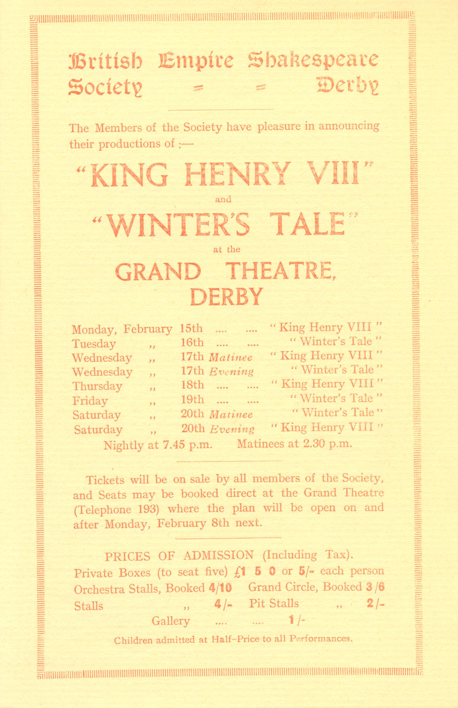'Henry VIII' & 'The Winter's Tale' 1932