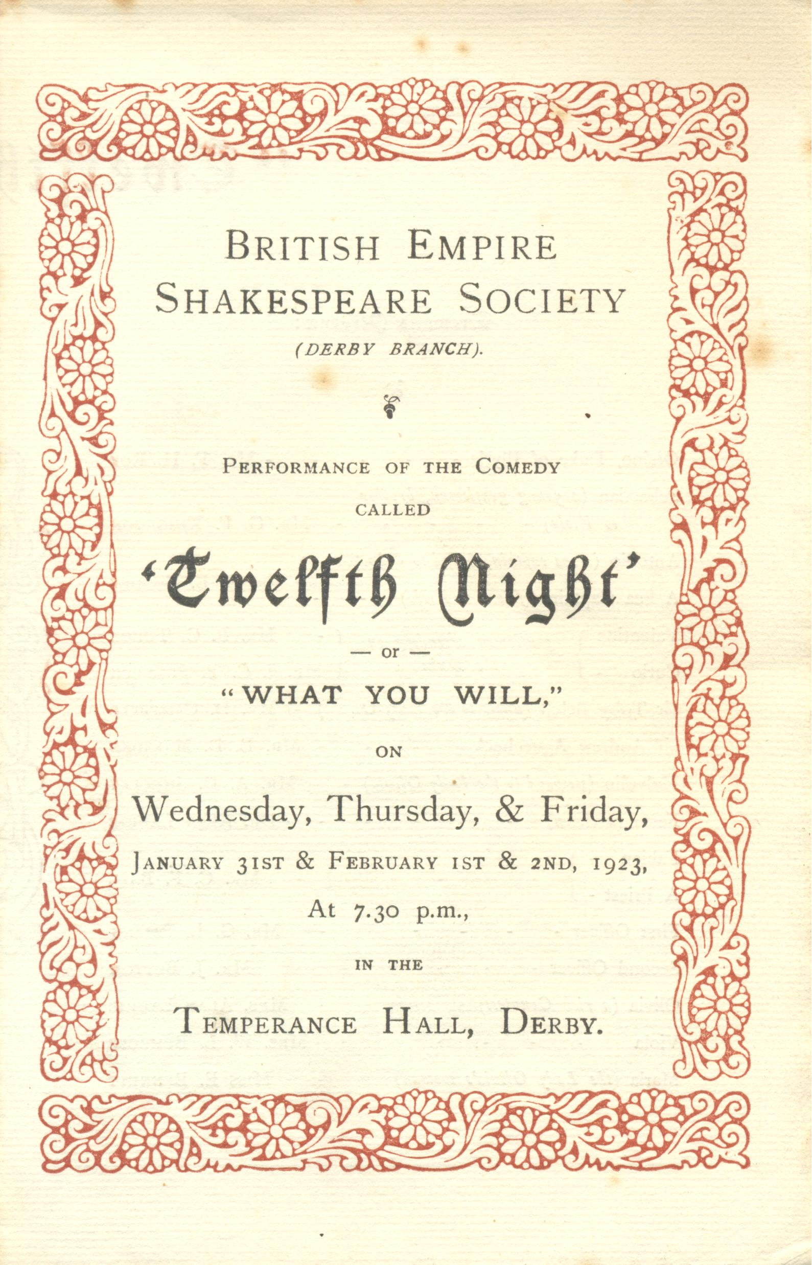 'Twelfth Night' 1923