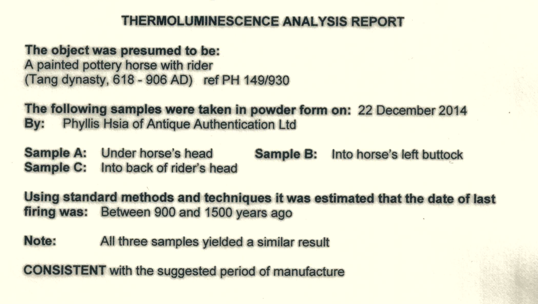 Example Thermoluminescence Analysis (TL) Certificate by Oxford Certification