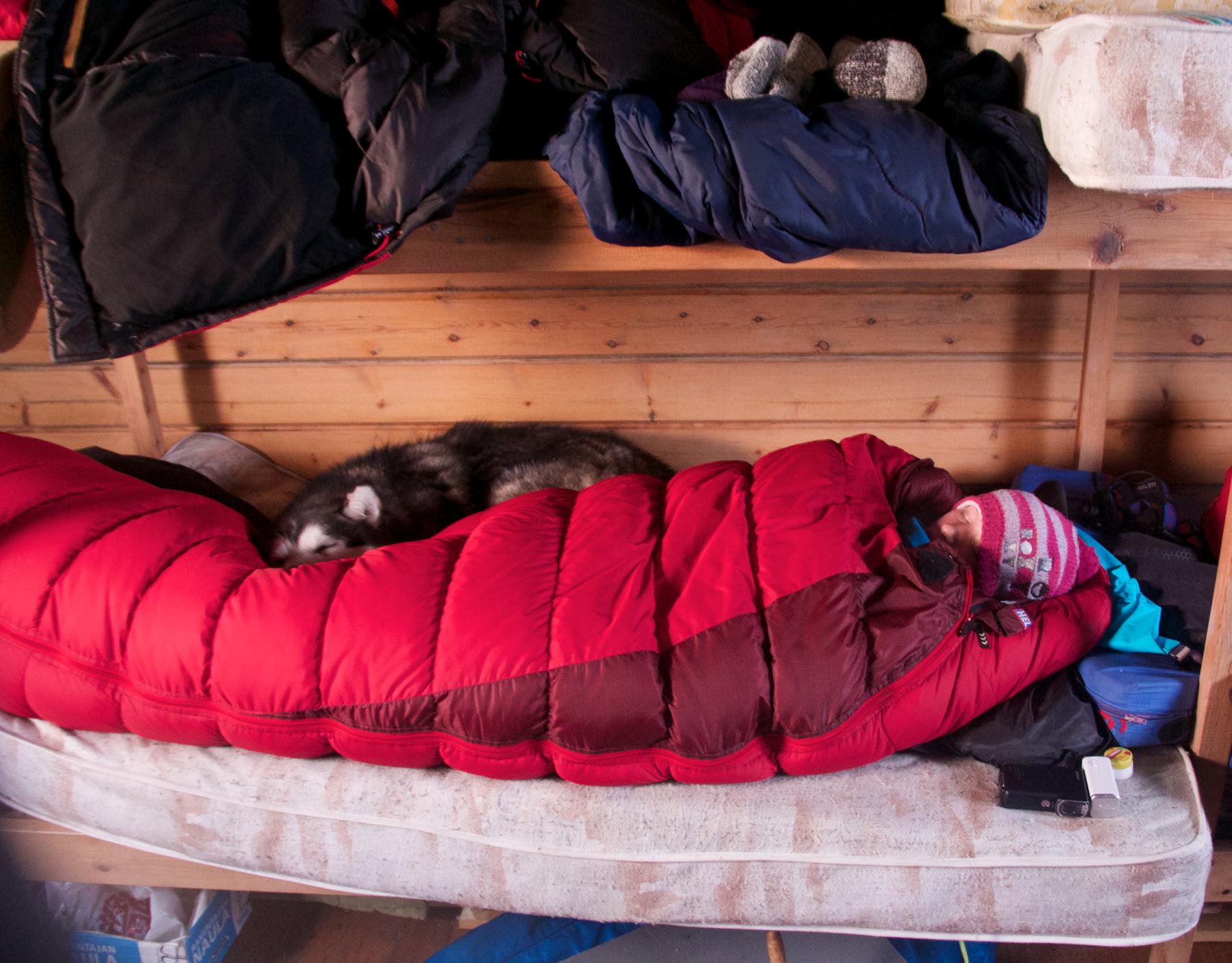 En riktig god vinterpose øker komforten. Her sov vi i en hytte hvor tempen var -30 innendørs og -45 utendørs! Brrrrrr!!!