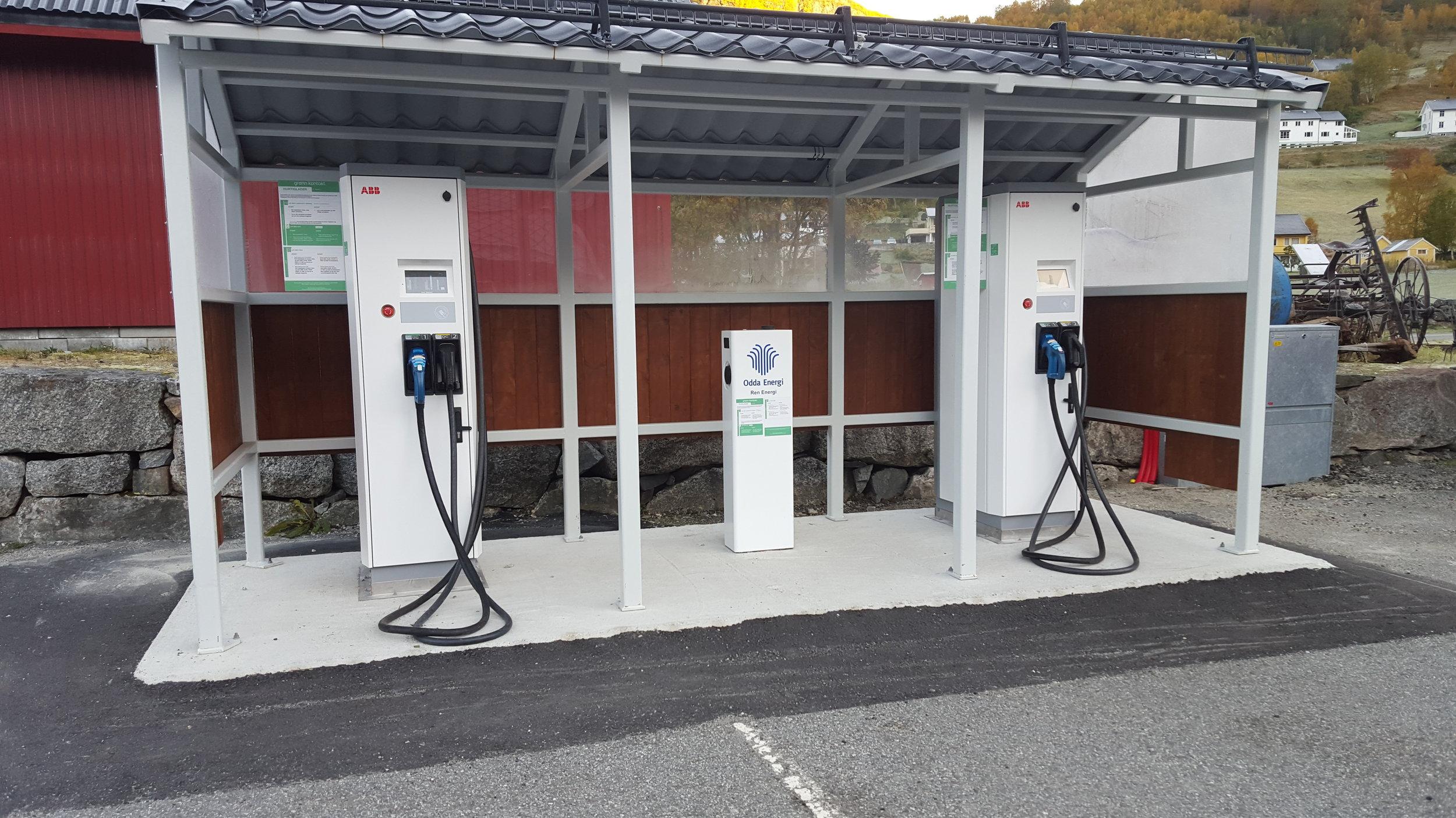 Odda Energi sin ladestasjon i Røldal