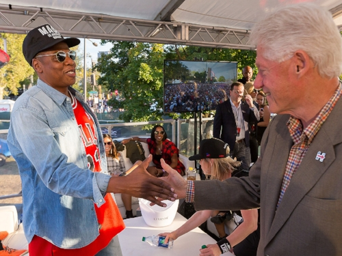 Bill Clinton and Jay-Z greeting one another at the Made in America Festival Sept. 4th.