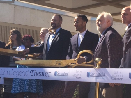 John Legend cutting the ribbon on a theater named after him in Springfield, OH.