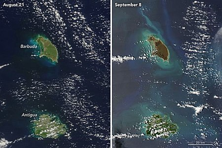 Satellite images of Antigua and Barbuda from August 21, 2017, and September 8, 2017, illustrating the damage caused by Hurricane Irma to Barbuda