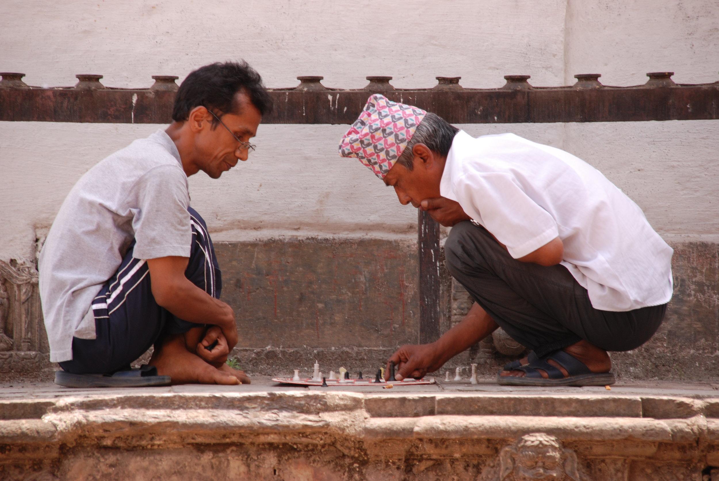 Playing chess in Kathmandu.