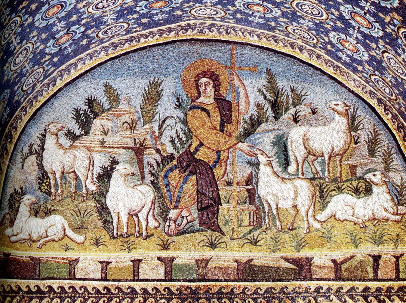 Jesus as the Good Shepherd mosaic, Galla Placidia Mausoleum, Ravenna, Italy