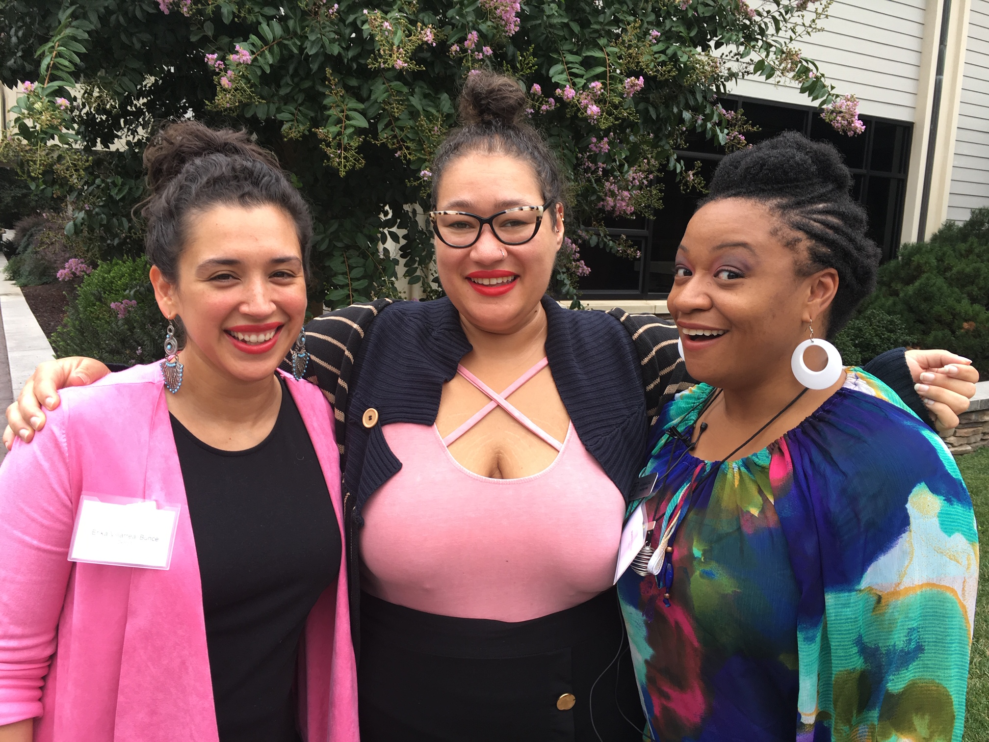 Living Arts Program Director, Erika Villarreal Bunce; Detroit Wolf Trap Program Manager, Sicily McRaven; and Teaching Artist Alesha Brown at the Wolf Trap Conference