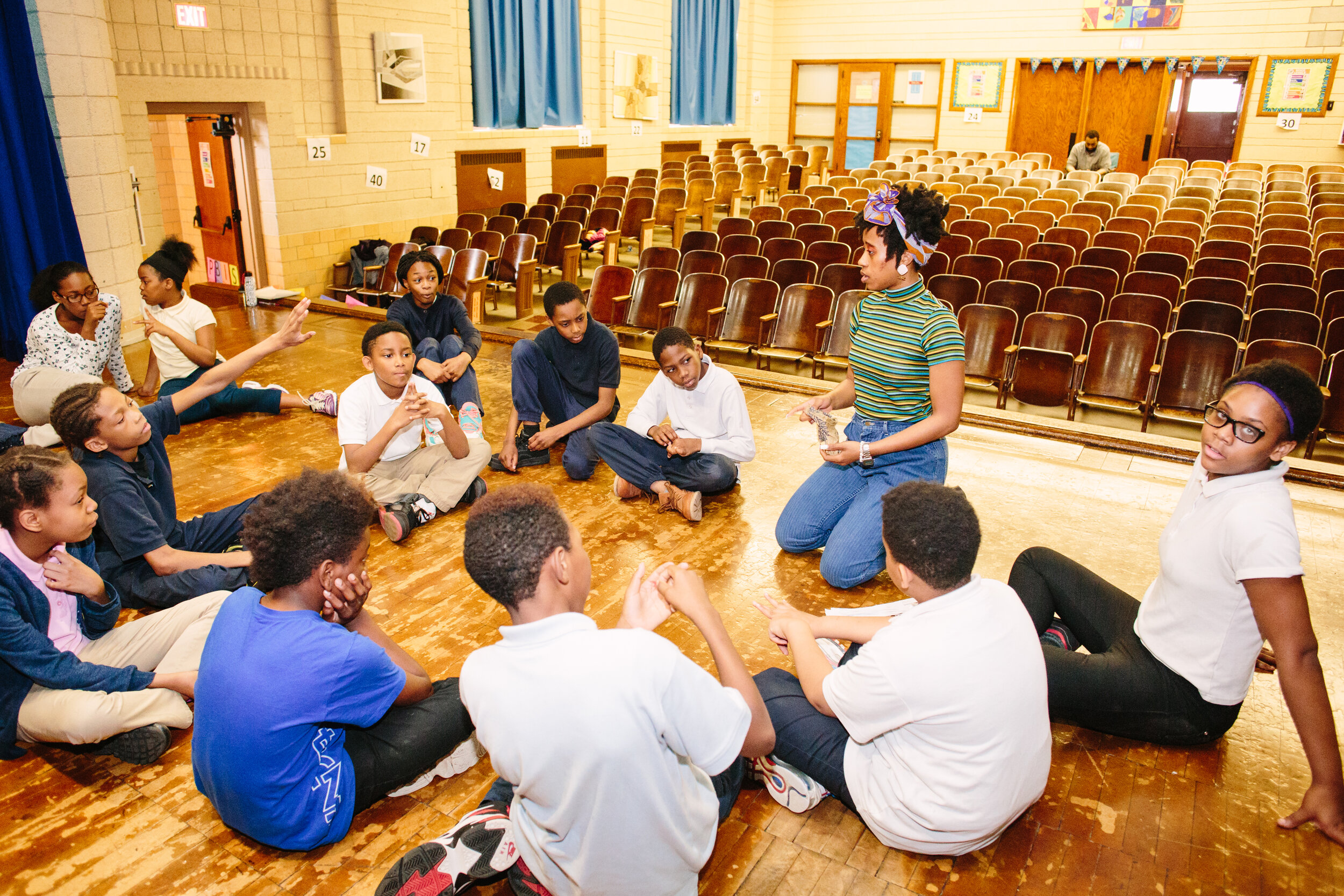 Teaching Artist Aja Dier leads a drama/English Language Arts residency for 5th graders at Pasteur Elementary.