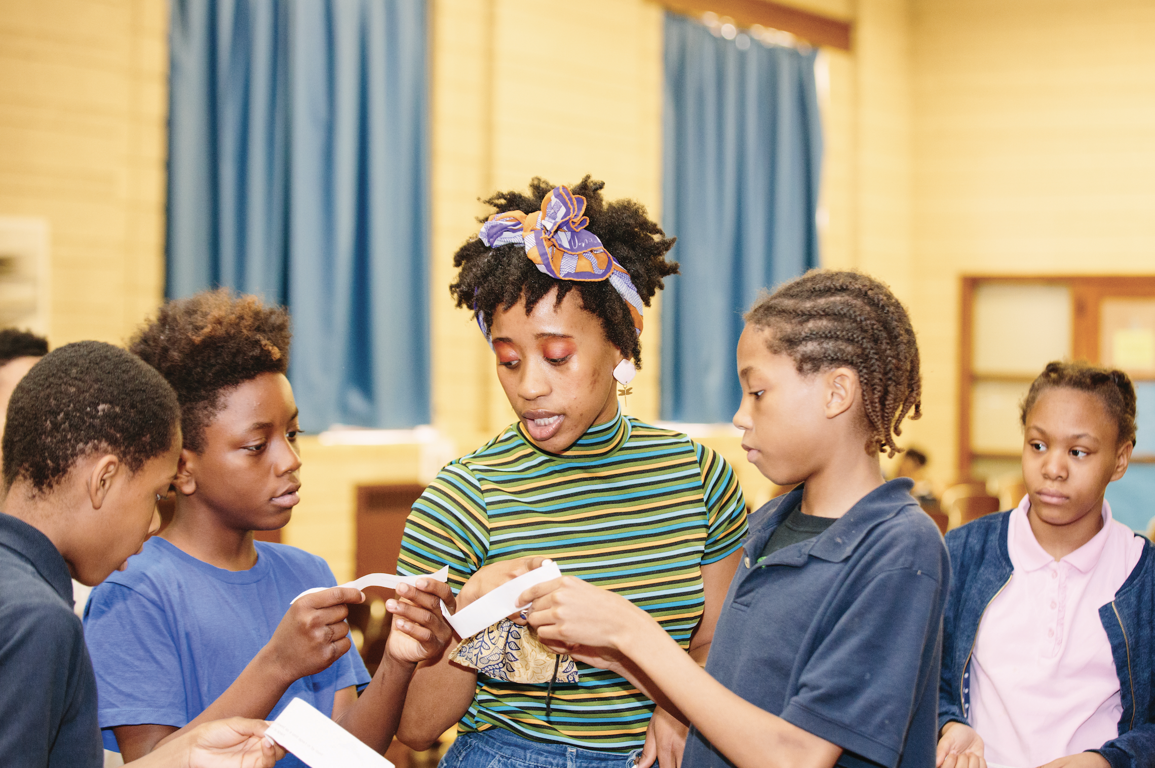 Teaching Artist Aja Dier leads drama integration at Pasteur Elementary, DPSCD.