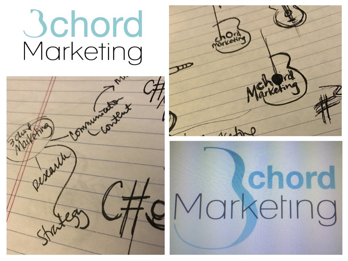 The final 3chord Marketing logo (top left), the first iteration (bottom right), and a peek at how we got there.