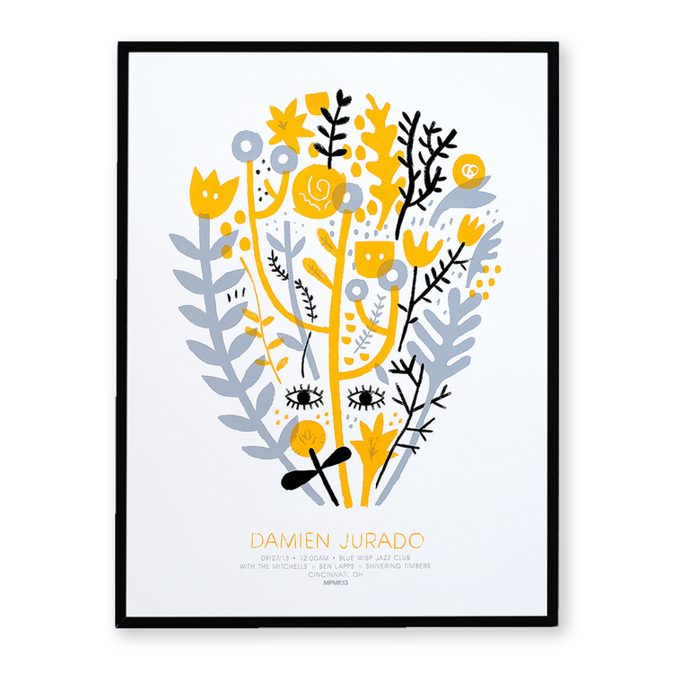 Silkscreen print for musician Damien Jurado