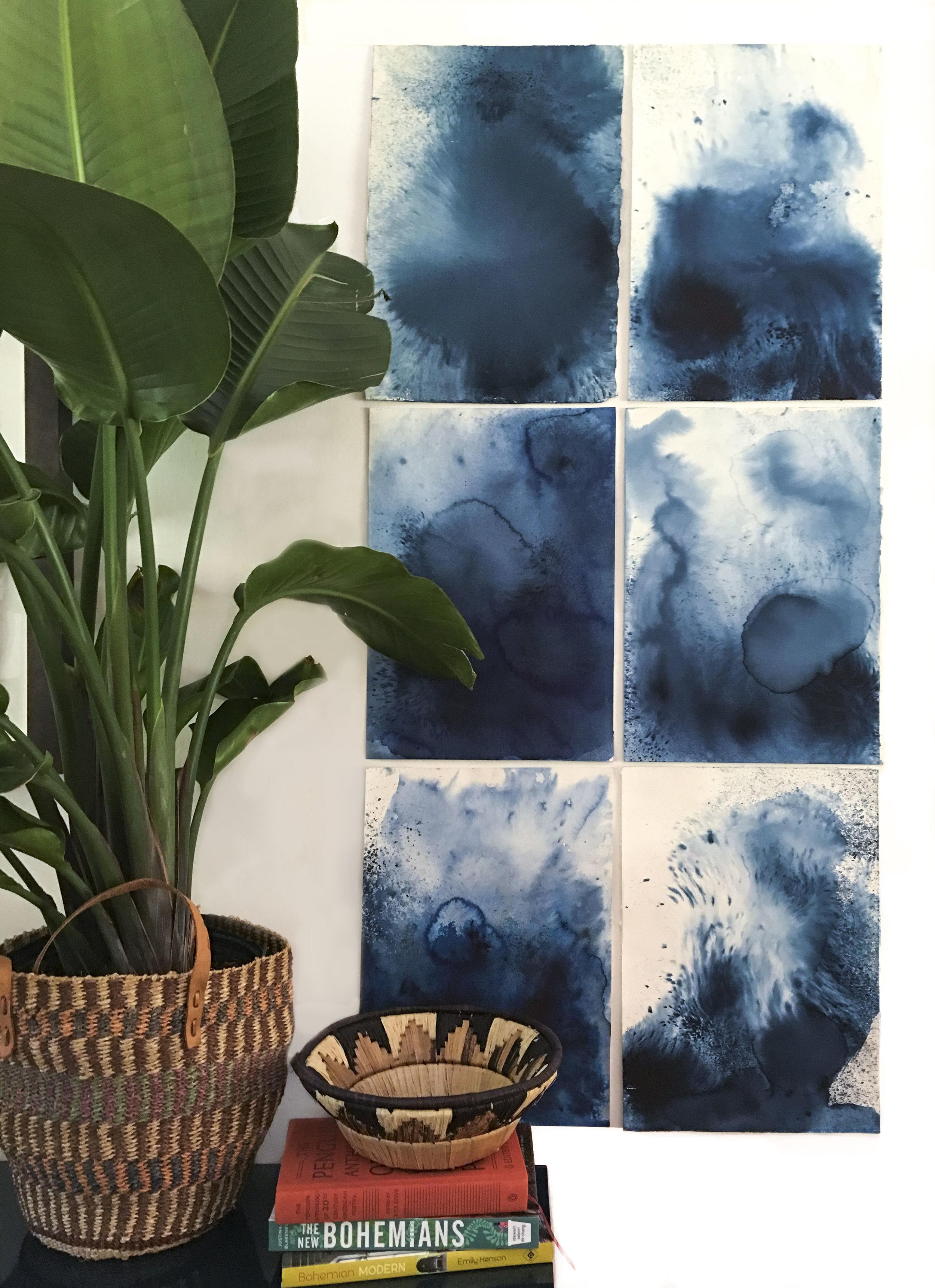Emily Mann, Ink and Indigo, Abstract Indigo 1, 22 x 12 each, install view .JPG