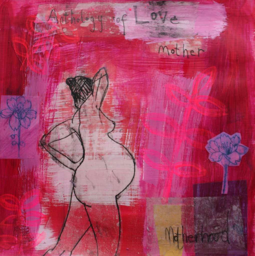 CLARE HAXBY 'Love from mother to child ' 30 x 30 cms mixed media