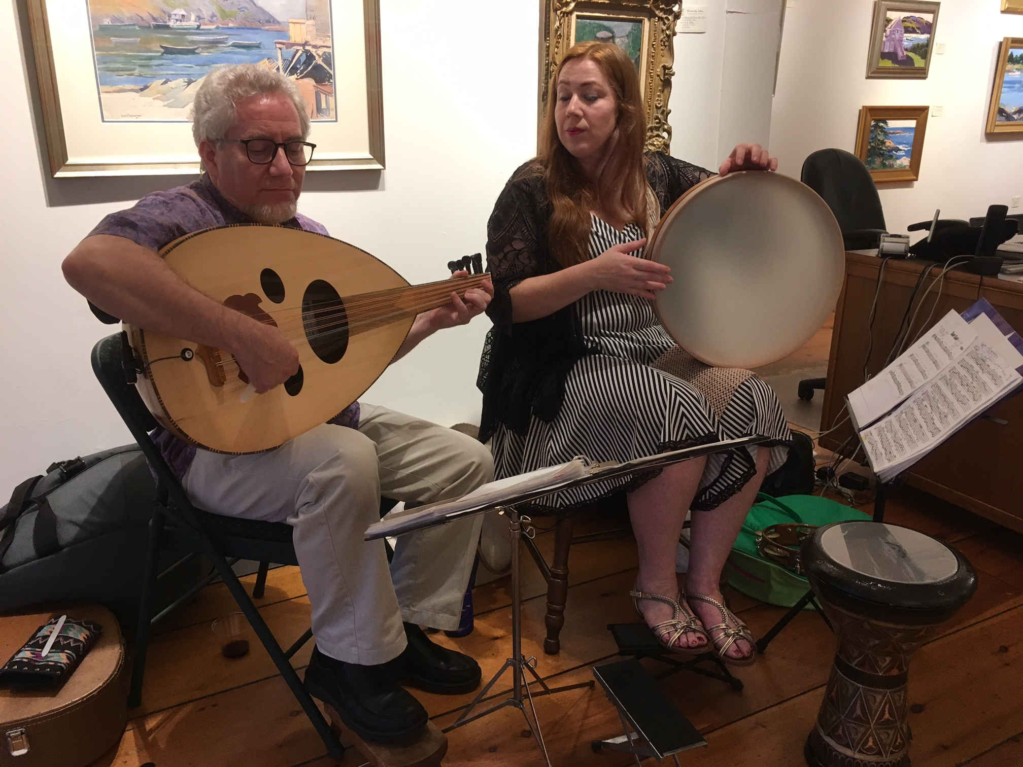 Jonathan Waldo and Dorothy Barker play in Wiscasset Bay Gallery
