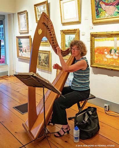 Suki Flanagan plays harp in the galleries. (Bob Bond photo)