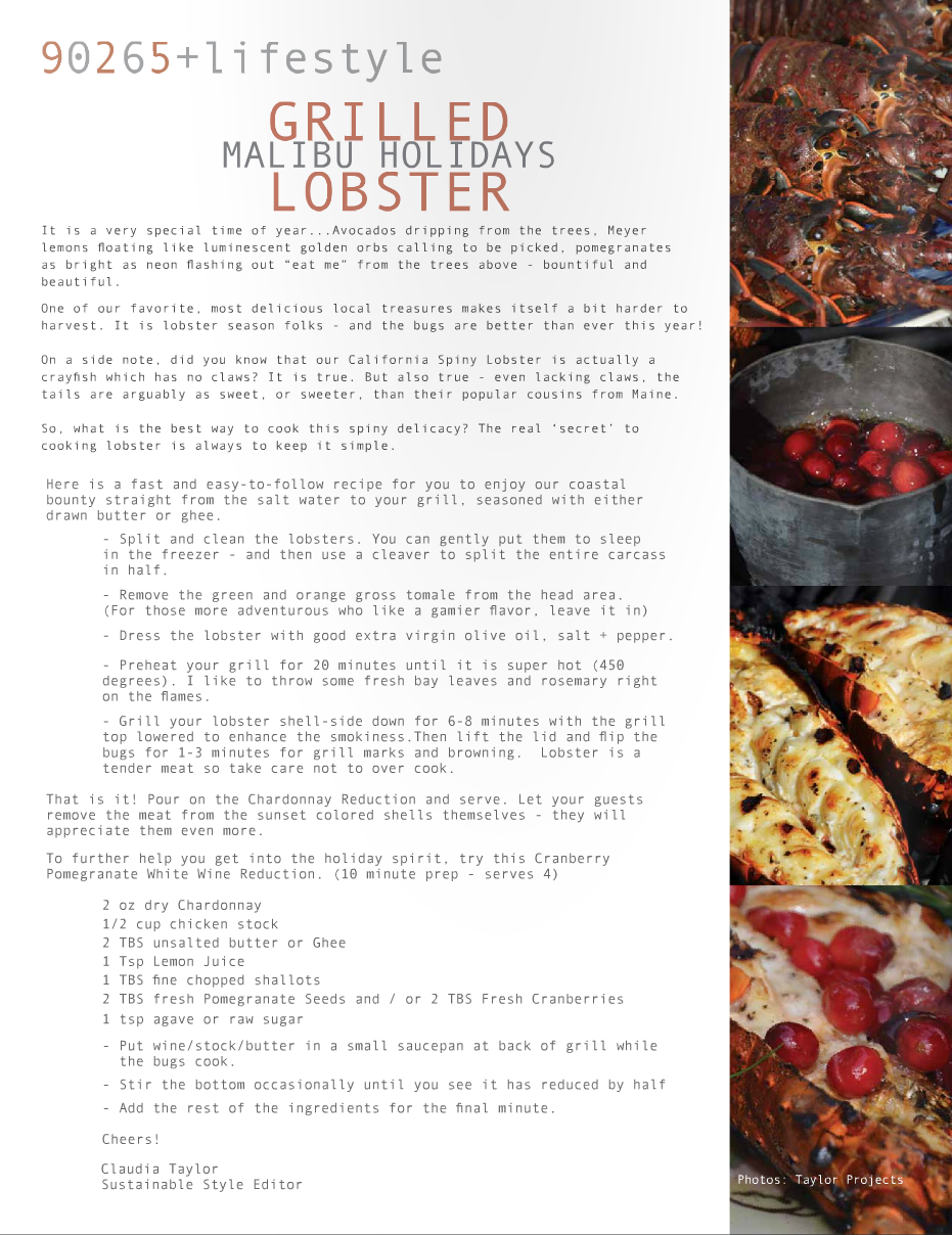 GRILLED LOBSTER - MALIBU 90265 MAGAZINE