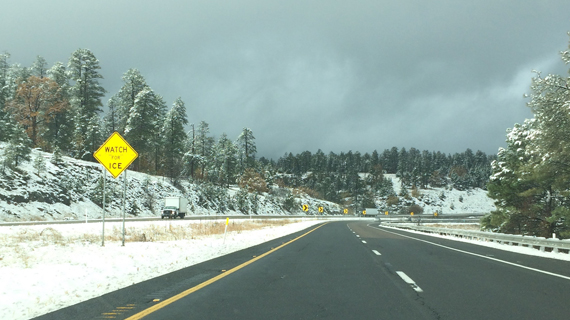After leaving on a partly cloudy Phoenix morning, we were surprised to encounter snowfall in Flagstaff.