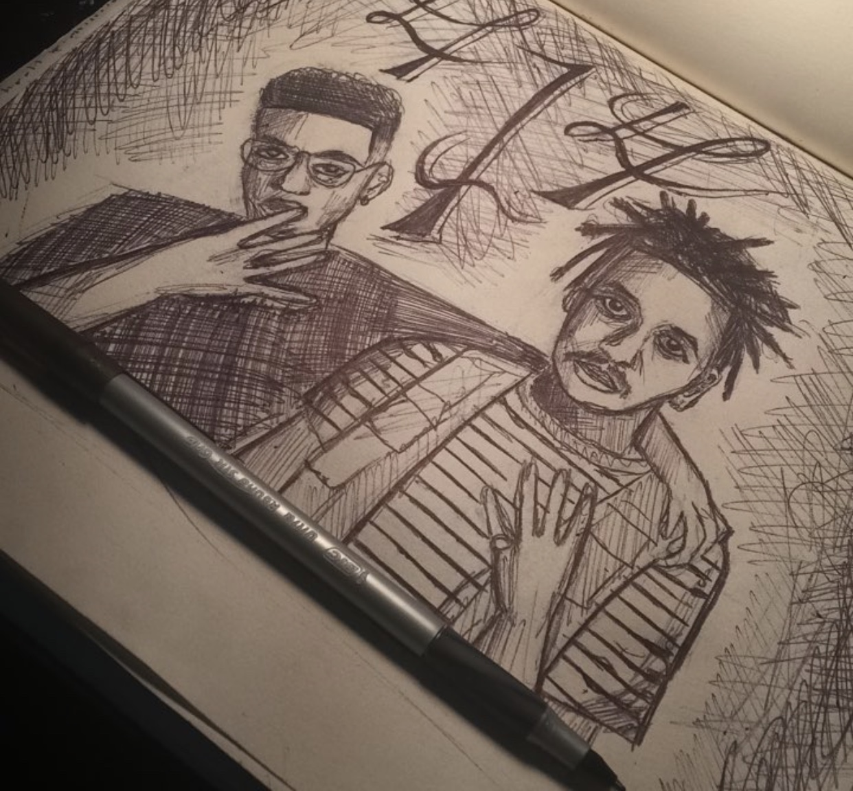 WebsterX & IshDARR -Jacob - What motivated me to draw this portrait of Webster X and IshDARR was to pay homage to two of the best artists of my city. Webster X's music always puts my in a very calm and creative mood and I love the instrumentation he uses to produce his music. When I met him at the summer solstice music festival he seemed like a very down to earth person who cared about his supporters and I wish for him to go far with his music and put Milwaukee on the map.IG: @5tryng