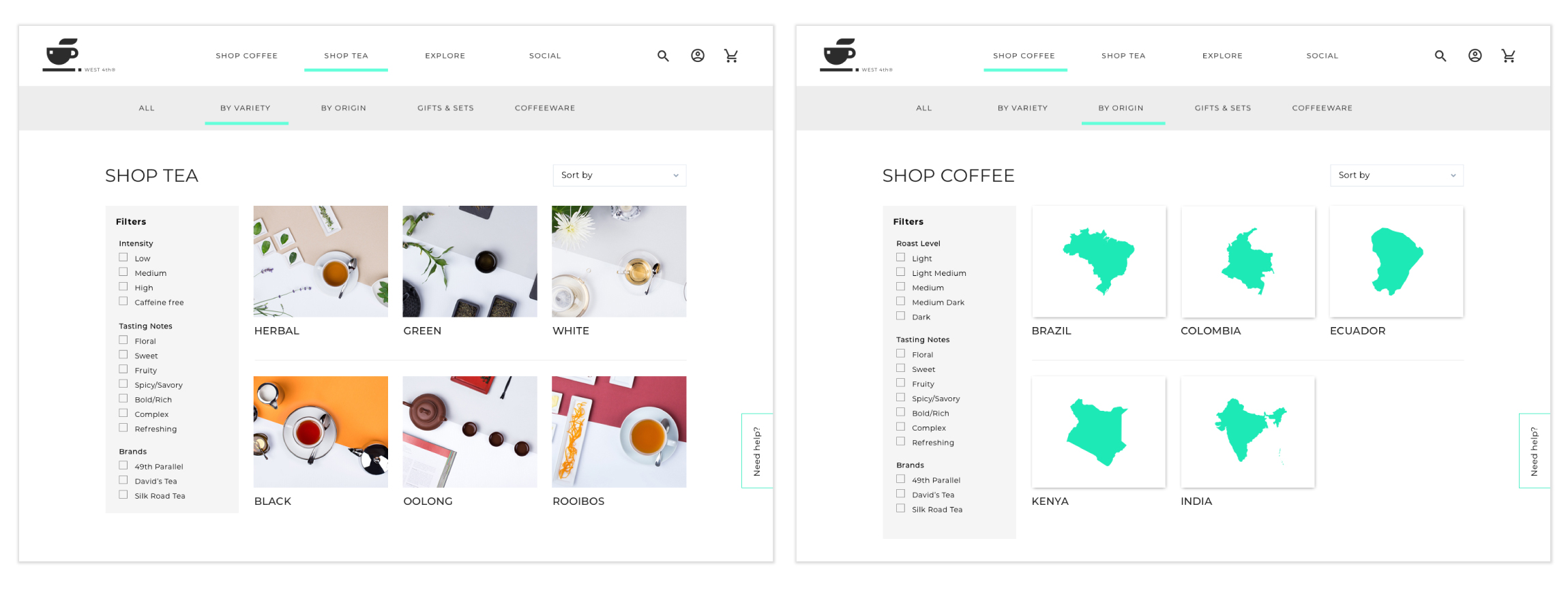 Variety and origin categorization in Coffee and Tea E-Commerce site