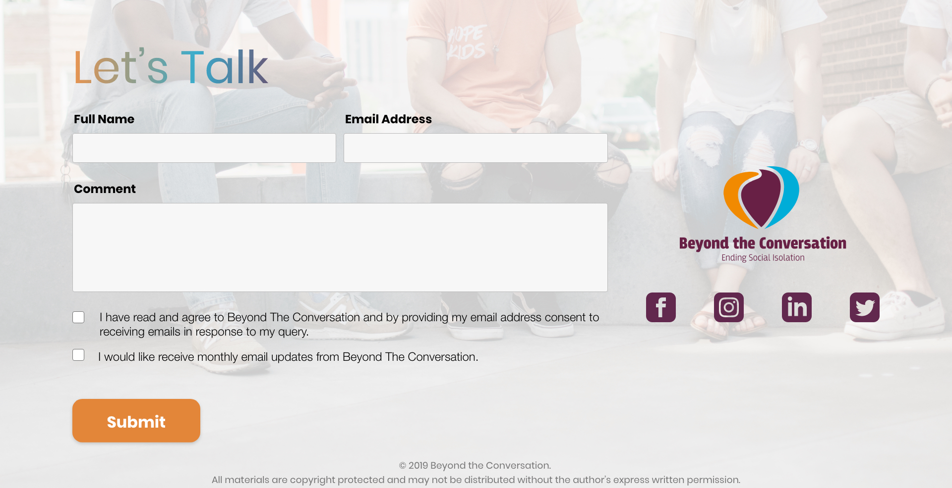 Let's Talk form to subscribe for the monthly updates from Beyond the Conversation, and the social networks.