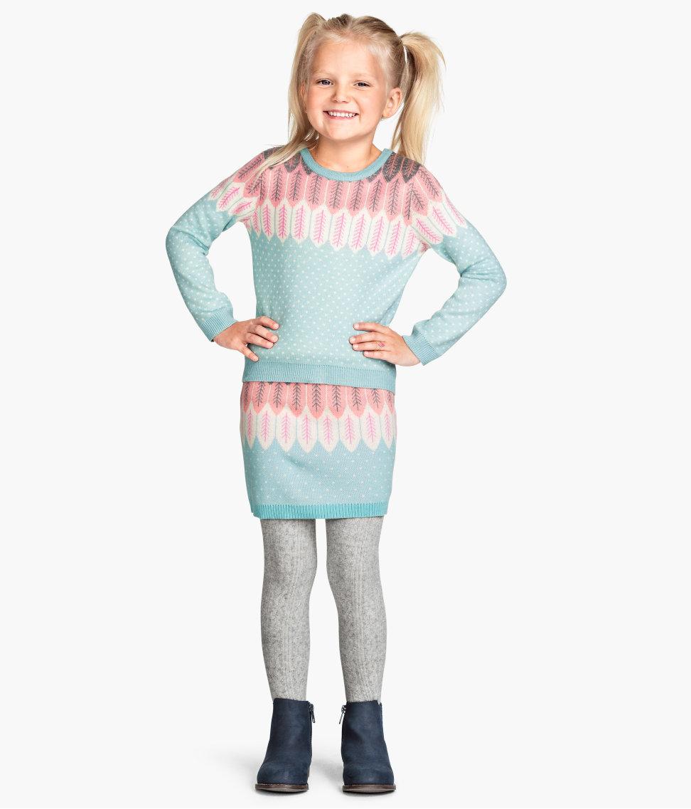Jacquard-knit Skirt Set