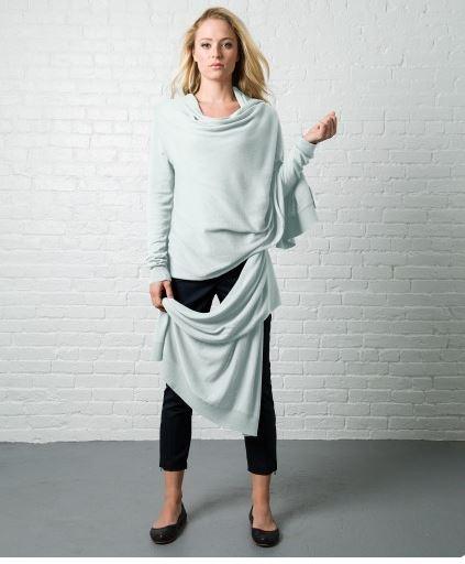 Crane & Lion Wrap Sweater in Wan Blue, $100