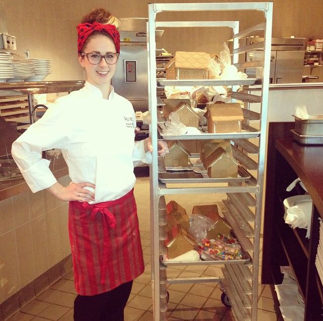 Pastry Chef Michelle Boland rolling out the gingerbread houses