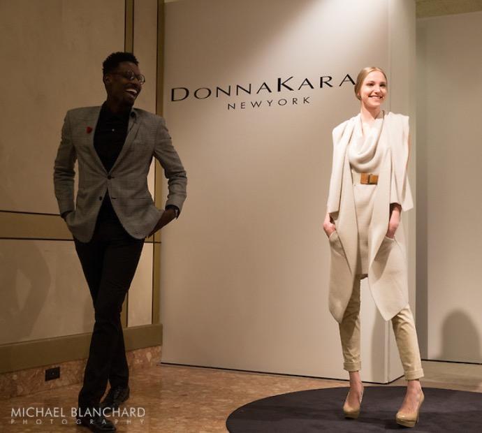 Donna Karan wrap cardigan & cotton trousers