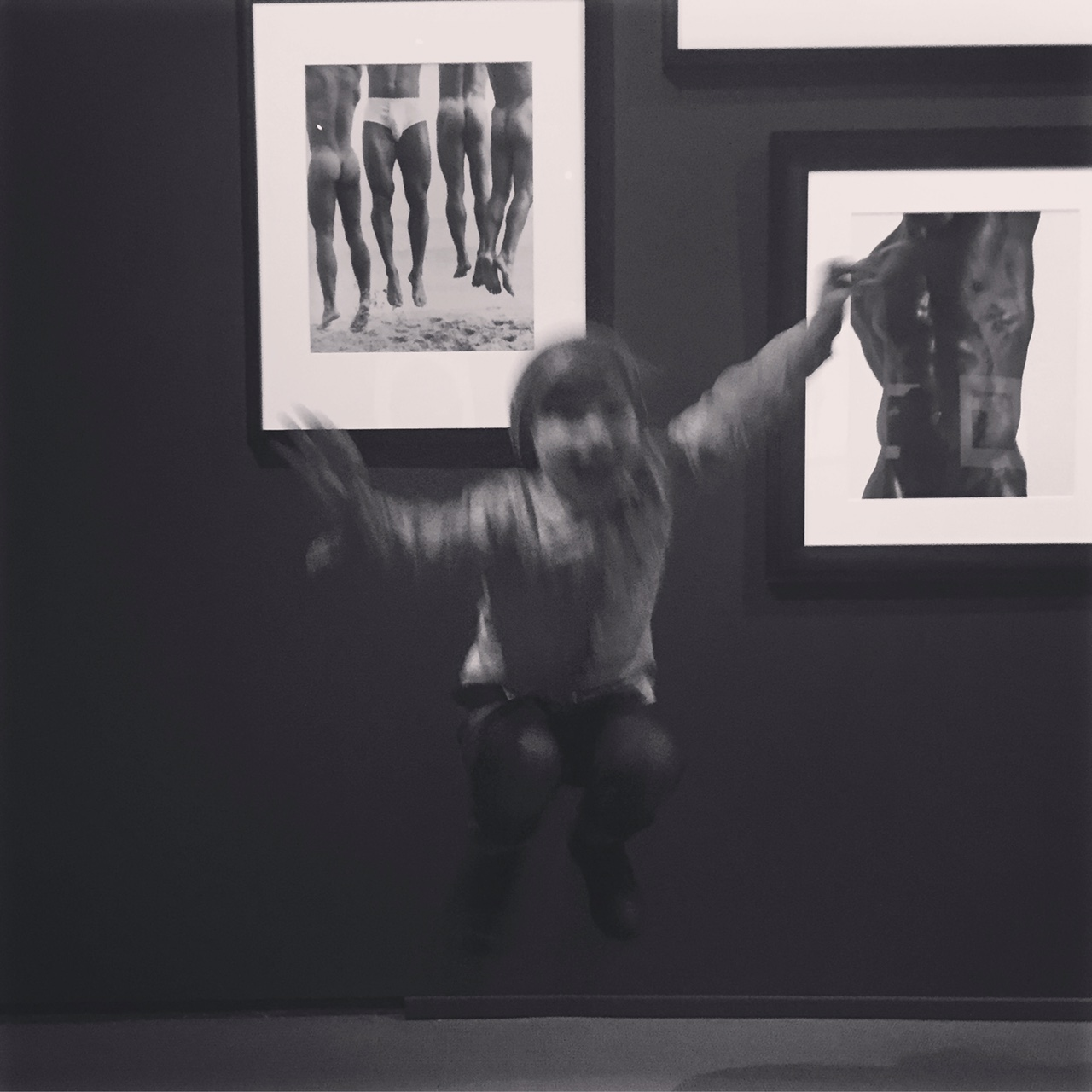 "Jumping for joy in front of Ritts' ""Jump, Paradise Cove, 1987"""