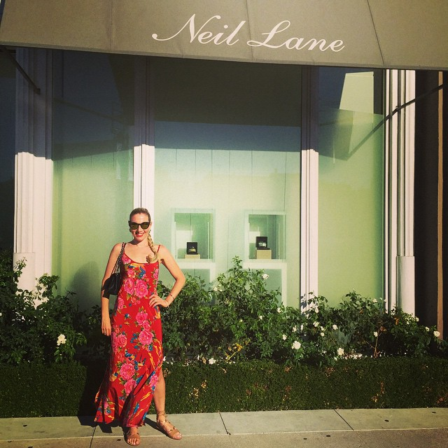 Outside Neil's Beverly Hills shop