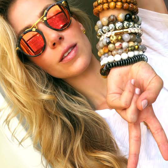 """April looking gorgeous in her """"Arm Party"""" bracelet separates that she just launched"""