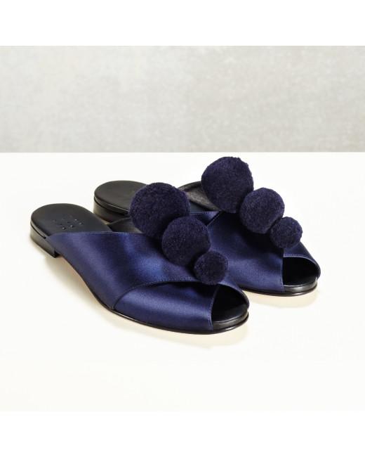Pajama Sandal with Pom Poms
