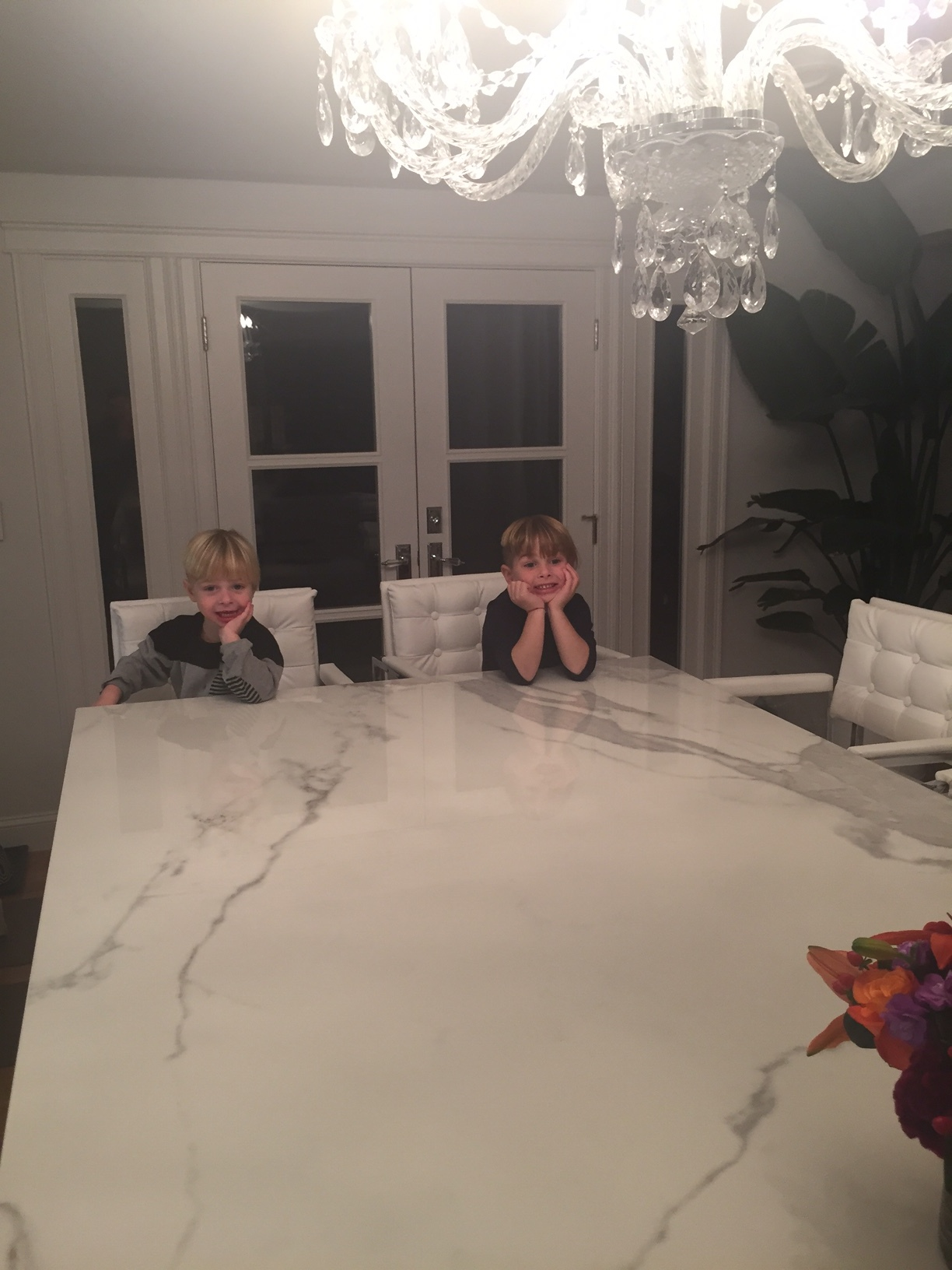My boys sitting at the counter as soon as they were installed.... What I've been waiting for!