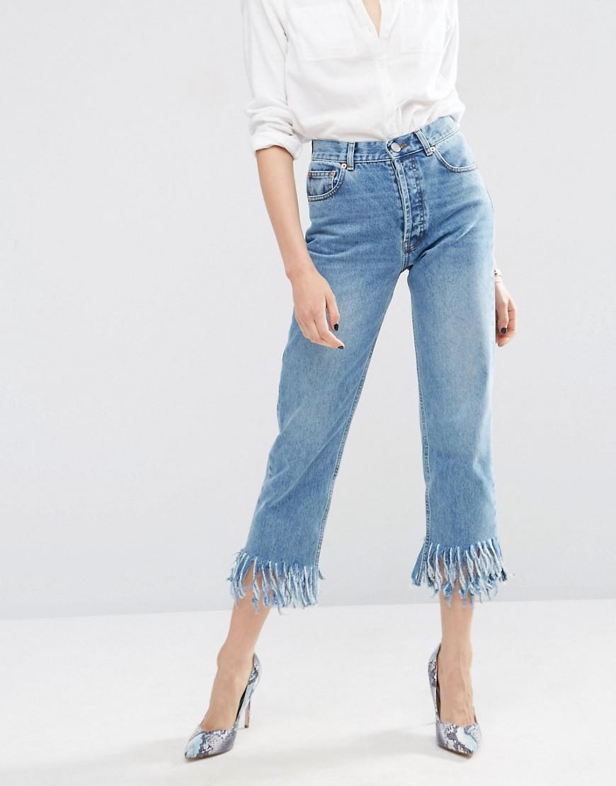 Asos Fringe Hem Jeans
