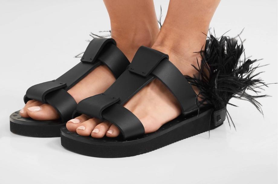 Valentino Garavani feather embellished sandals