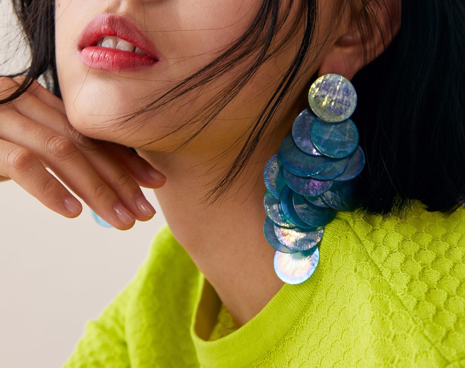Zara iridescent scale earrings
