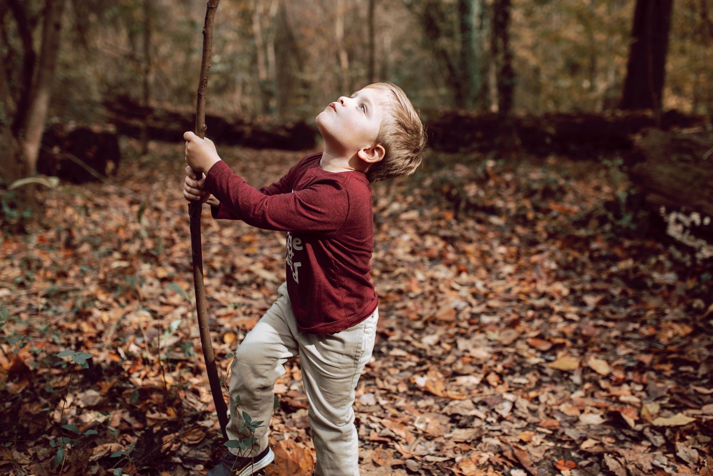 boy exploring woods overton park memphis fall
