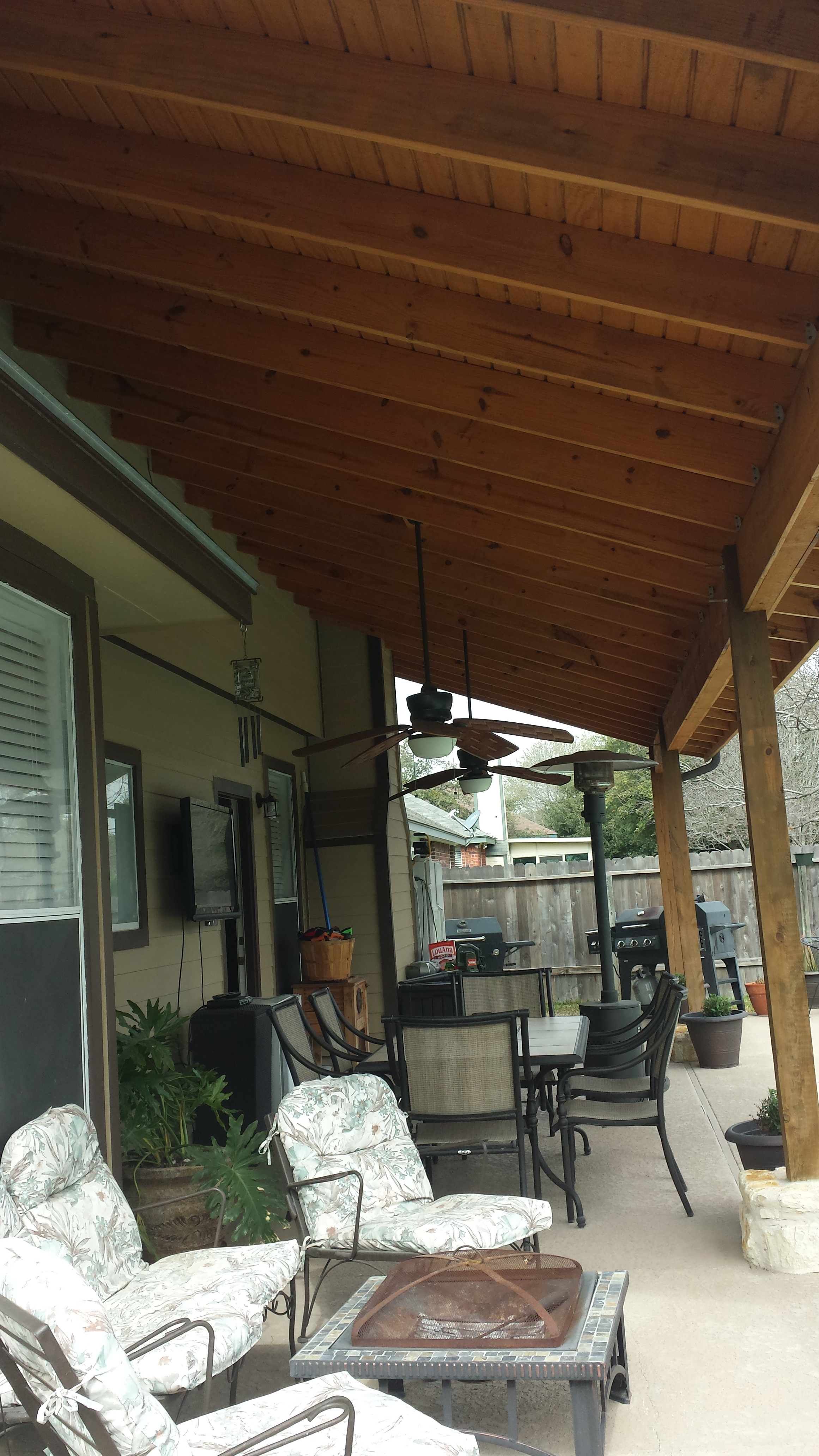 Cedar capped beam, and posts to give a more rustic finished look
