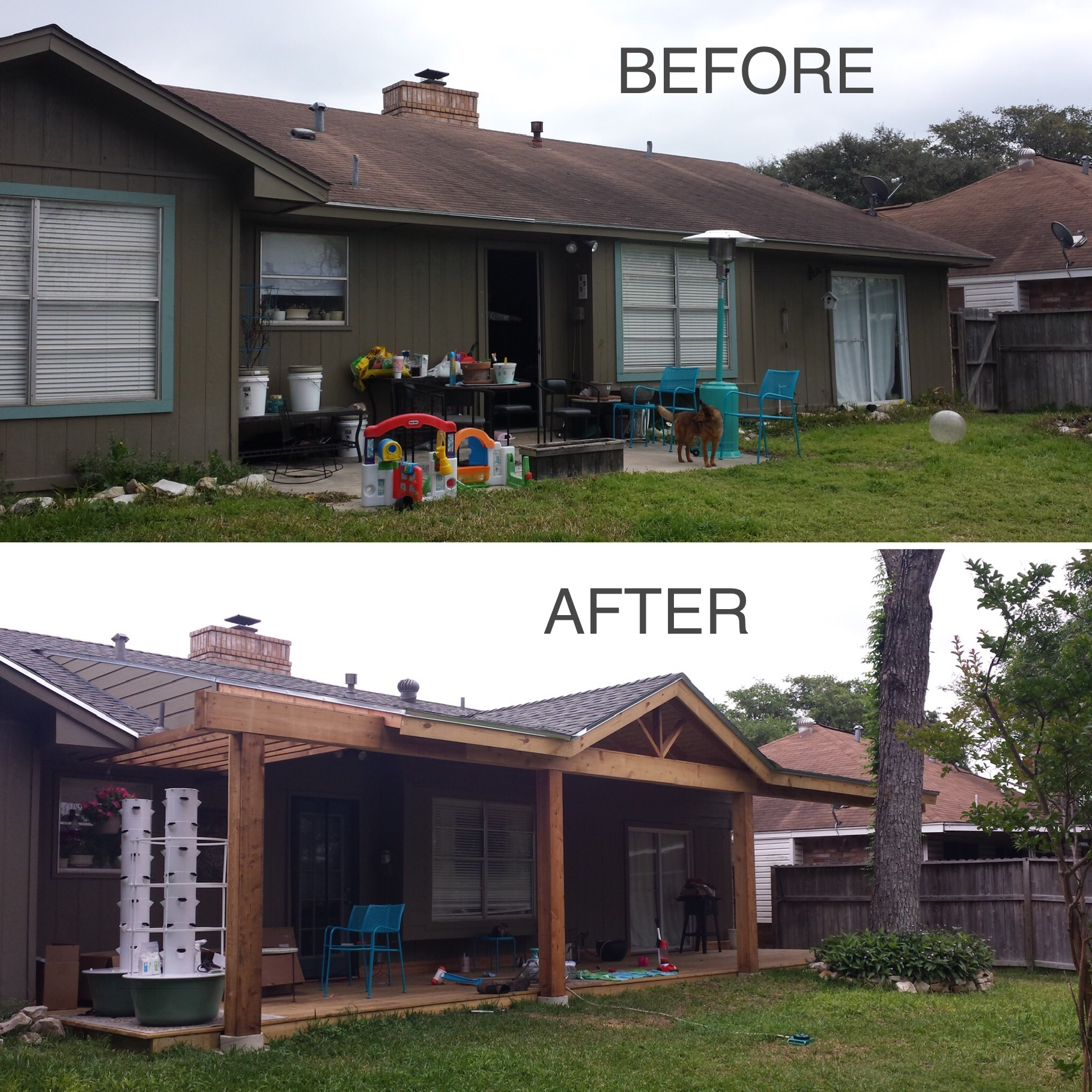 This customer wanted something a little different, so we sat down and came up with a design that incorporated a gable, pergola, deck, and exposed rafters. We also replaced the roof on the house, and installed the matching roof on the patio cover.