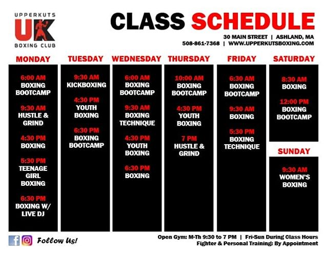 ALERT‼ Our NEW weekly class schedule starts TOMORROW! Sign up for your classes through our app or online! ⠀⠀⠀⠀⠀⠀⠀⠀⠀ ➡️ www.upperkutsboxing.com ⠀⠀⠀⠀⠀⠀⠀⠀⠀ ⠀⠀⠀⠀⠀⠀⠀⠀⠀ ............................... #upperkutsboxing #fitness #culture #goodvibes #motivation #workout #boxing #trainhard #dedication #fitnessmotivation #hardwork #crossfit #circuittraining #absworkout #boston #worcester #bostonbruins #redsox #bruins #patriots #metrowest #recovery #tone #weightlosstransformation #transformation #personaltrainer #backtoschool #newengland