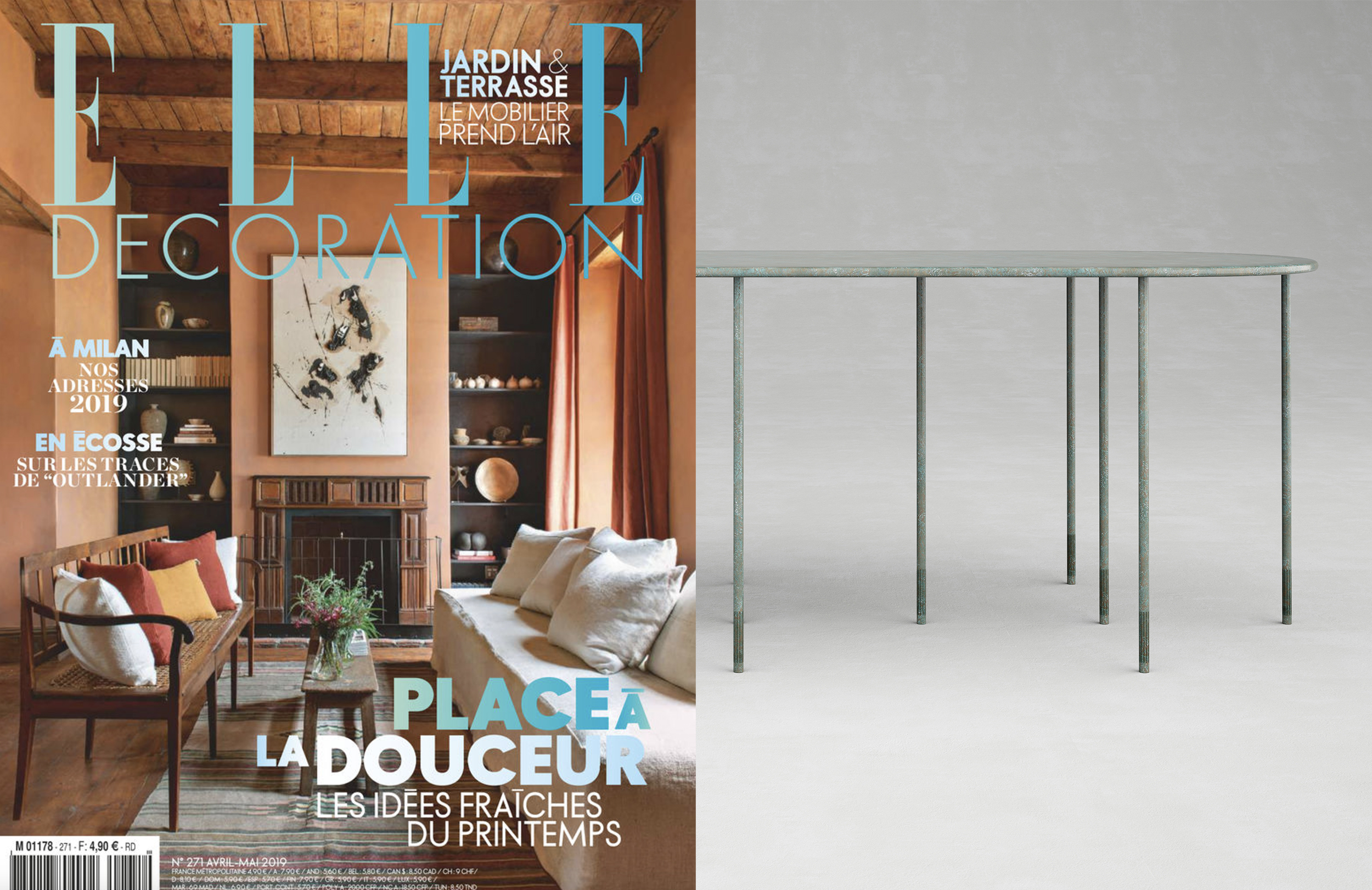 "COLLECTION VENUS _ VE1 DINING TABLE IN "" ELLE DECORATION FRANCE "" _ AVRIL 19"