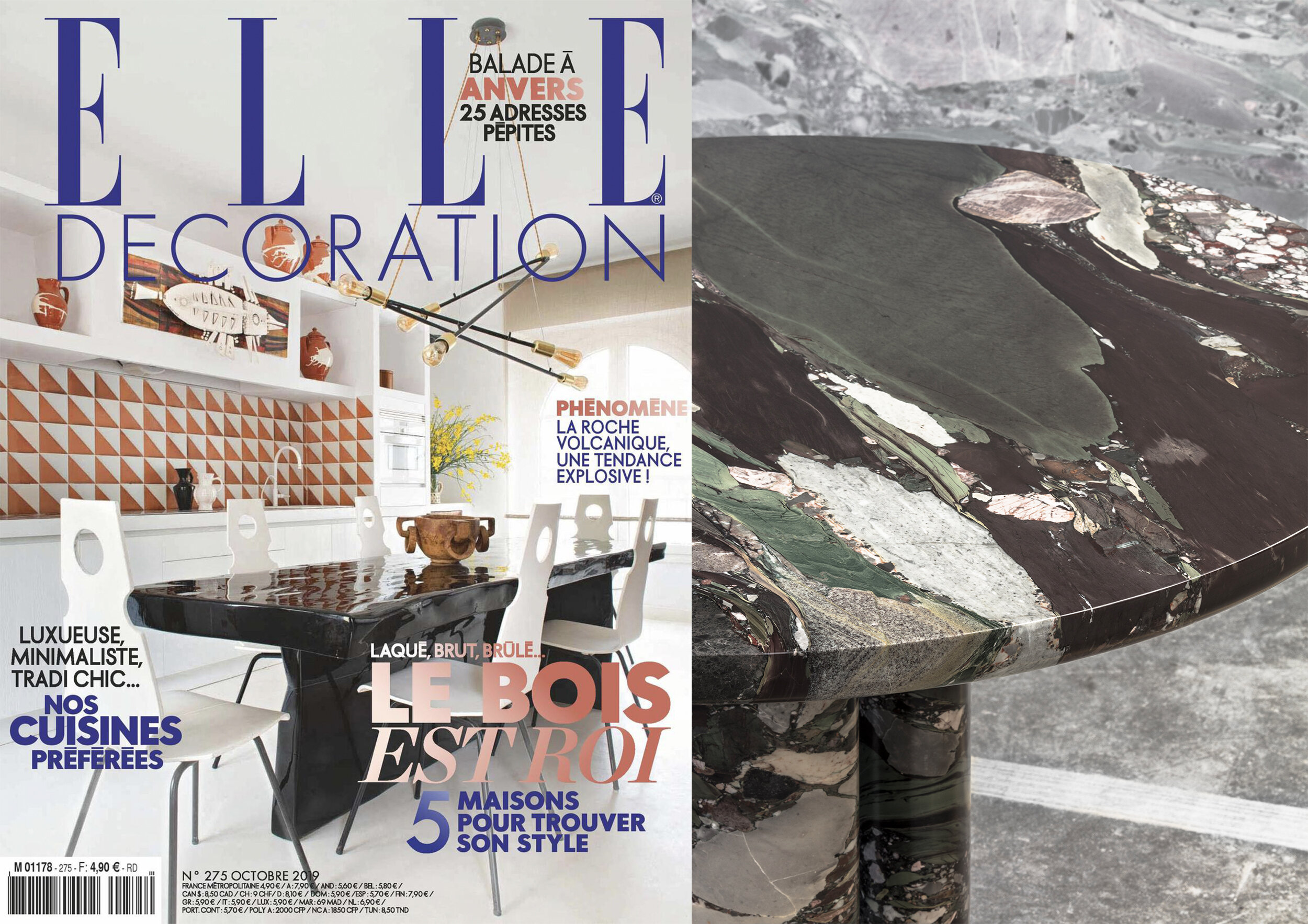 "COLLECTION DOLCE_ D4 DINING TABLE IN "" ELLE DECORATION FRANCE "" _ OCTOBER 19"