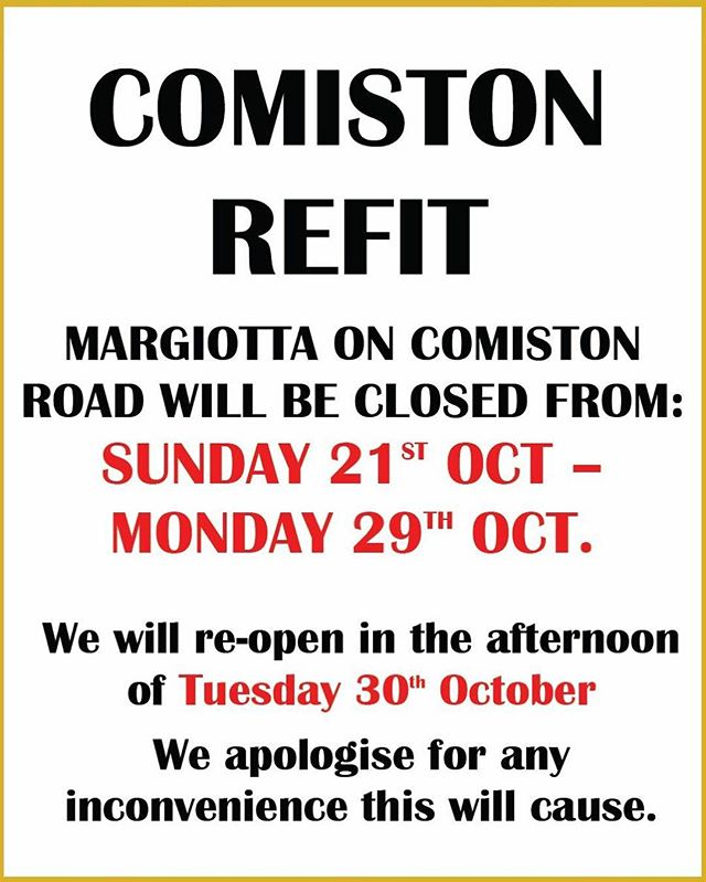Comiston road shop will be closed from next Sunday to get a whole refit! Sorry for the inconvenience it will cause some of you but I promise the shop will look wonderful, new and shiny!😁😁 #edinburgh #shoplocal #margiotta