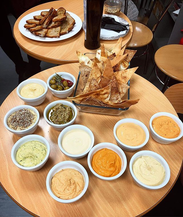 Hummus tasting at Margiotta HQ. Our new chef is trying and testing lots of potential new hummus flavours for us to sell in our shop. Not pictured were a ton of sandwiches to sample too. It's a hard job but someone's gotta do it.... 😉😋 #hummus #houmous #local #edinburghfood #edinburgh #edinburghlocal #homemade