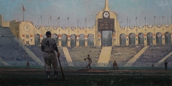 "Opening Day 1958: Dodger Baseball Comes to L.A.  10""x 20""  SOLD    Winner of the Irvine Museum Award at the California Art Club 107th Annual Gold Medal Exhibition"
