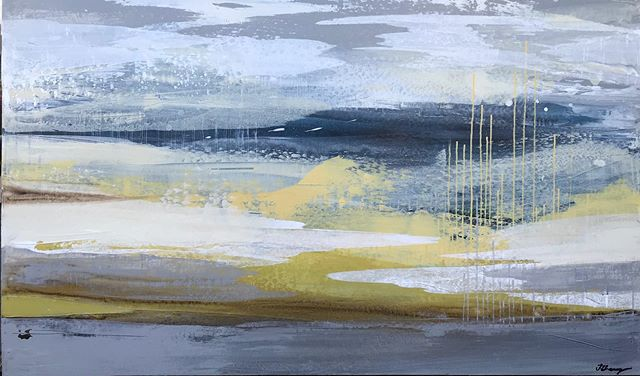 """Calm colour palette for this abstracted landscape.  It is 36""""x60"""" . . . . . . . . . . #painting#contemporaryart #contemporarypainting #artgallery#design#interiordesign#abstractart #abstractedlandscape #landscapepainting #artistsoninstagram #colour #texturepainting"""