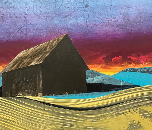 I'm having some fun with colour and collage.  I'm also obsessed with weathered old barns. 👀 #rural #barn#collage#topographical map#landscape#artgallery #mixedmedia#contemporaryart #contemporarypainting #color #gallery #ruralscene #painting#neon
