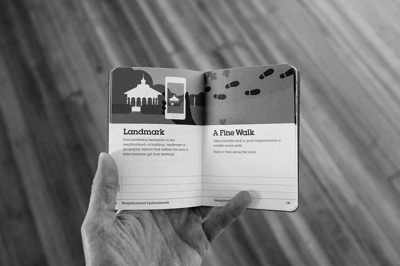 Interior spread of the PhotoScouting Guidebook. Two tasks in the neighborhood section encourage participants to photograph a landmark and a favorite walk.  Photo by Chris Glass